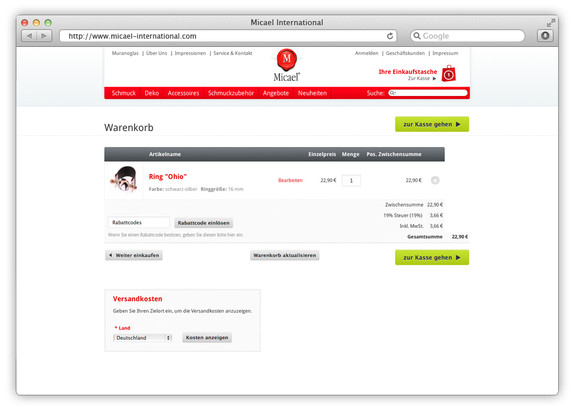 Magento Onlineshop für Schmuck aus Muranoglas