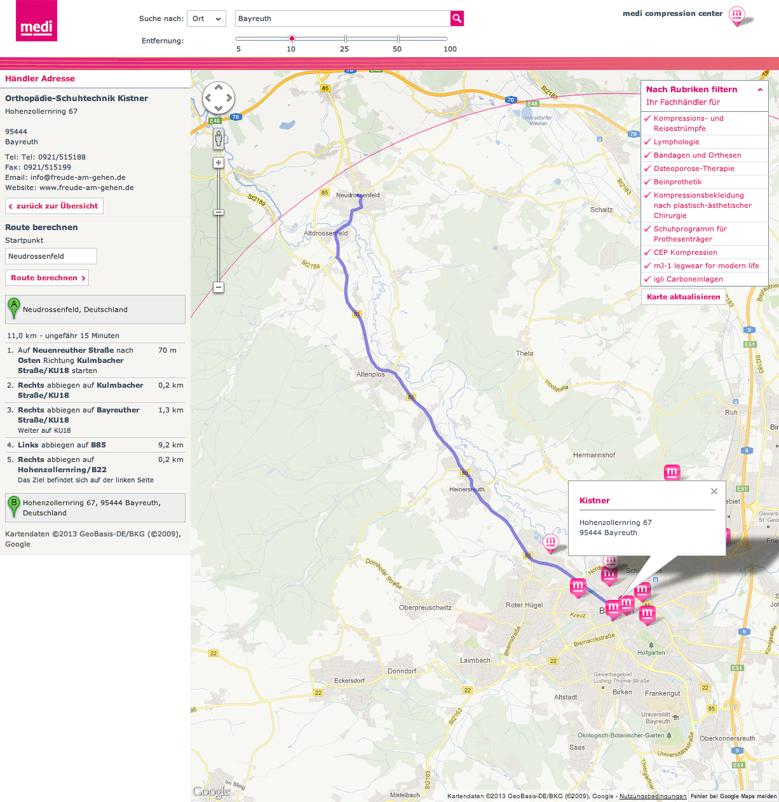 MediMaps Screen 3 - Routenplaner