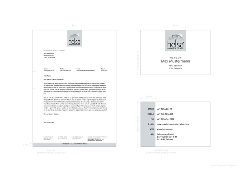 helsa Corporate Design: Briefpapier und Visitenkarte