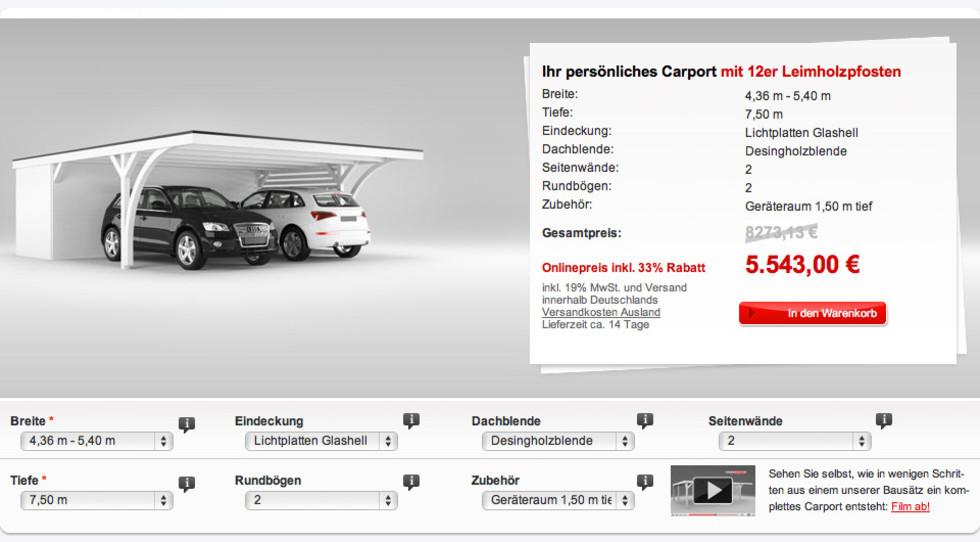 Online Konfigurator für Carports mit Magento Onlineshop Anbindung ...