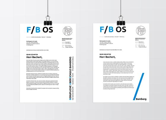 Briefpapier-Entwurf der FOS / BOS Bamberg mit Unterstützung von 4c media