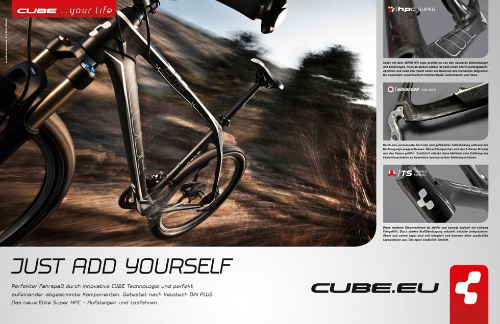 anzeigenserie f r cube bikes mit automobilfotografie f r fahrr der 4c media werbeagentur. Black Bedroom Furniture Sets. Home Design Ideas